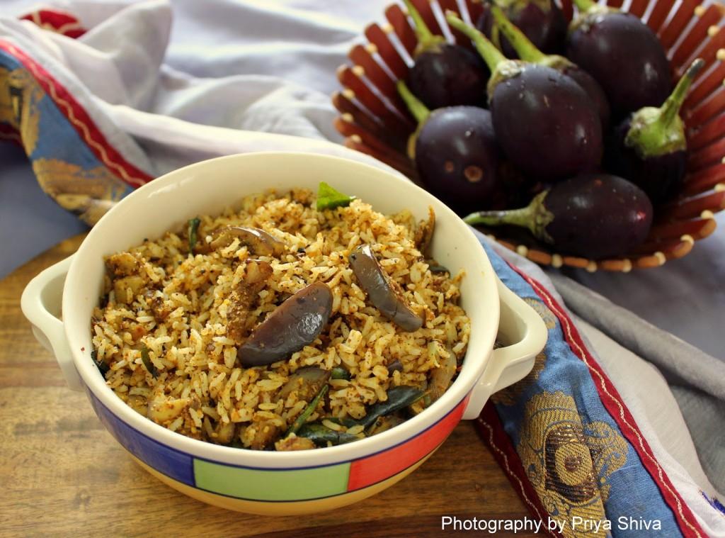 Brinjal rice, Kathirikai sadam, recipe, spice