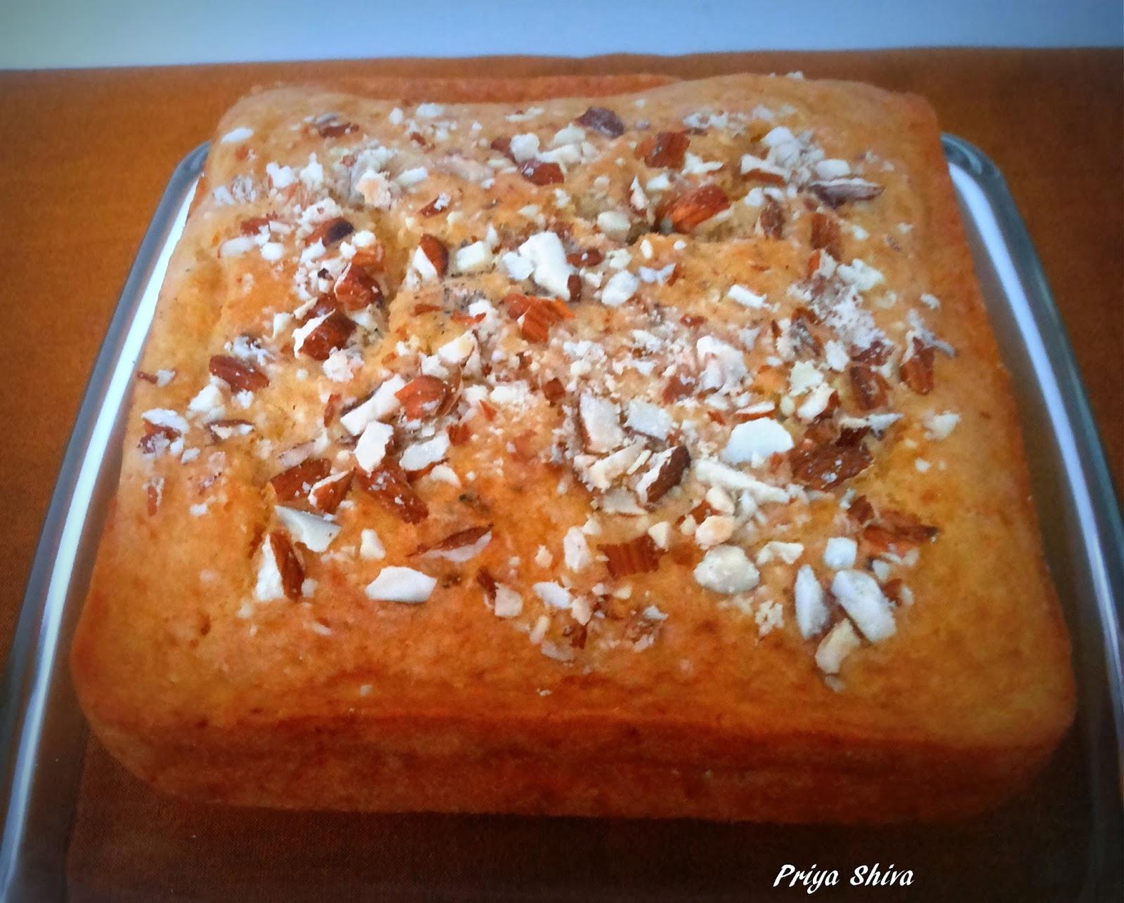 Eggless Almond Carrot Cake