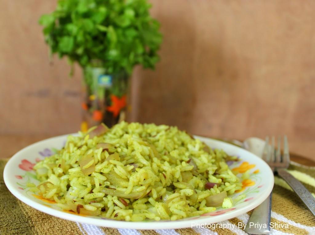 Kothamalli rice / Cilantro rice