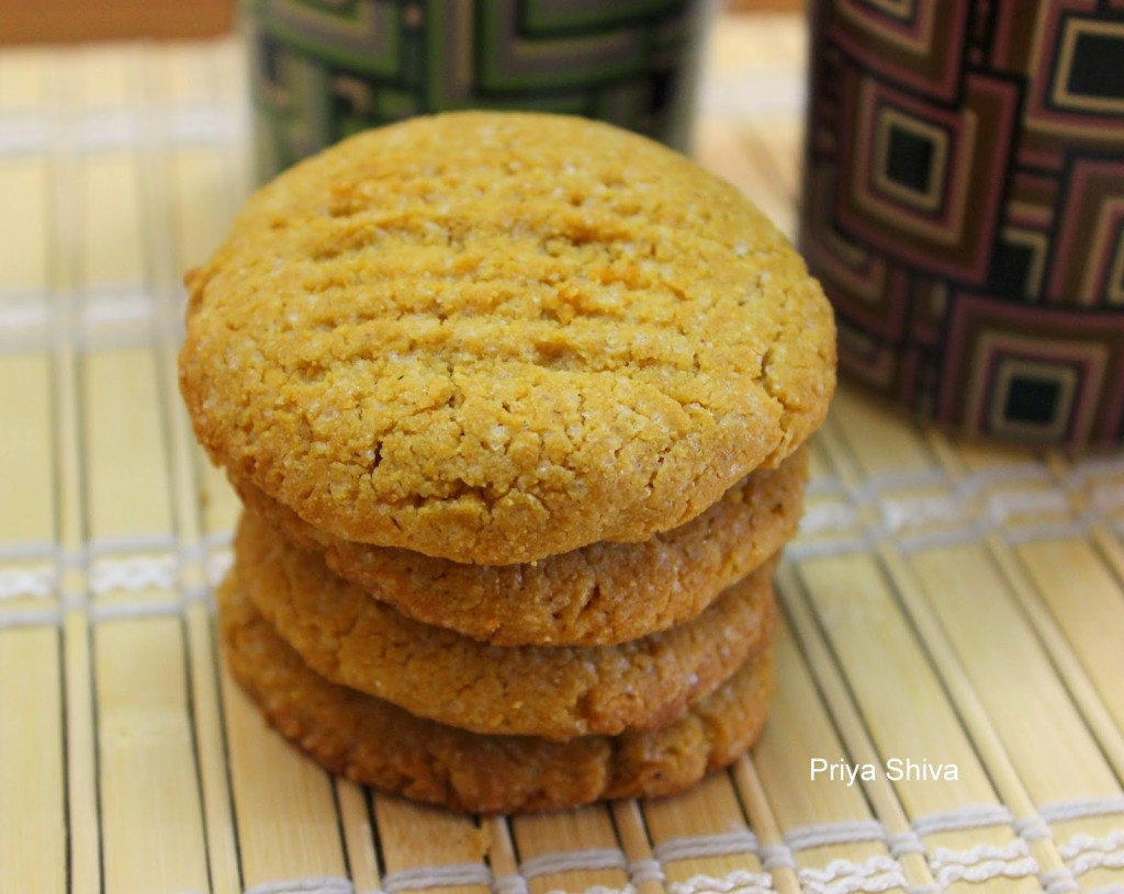 Eggless Peanut Butter Cornmeal Cookies