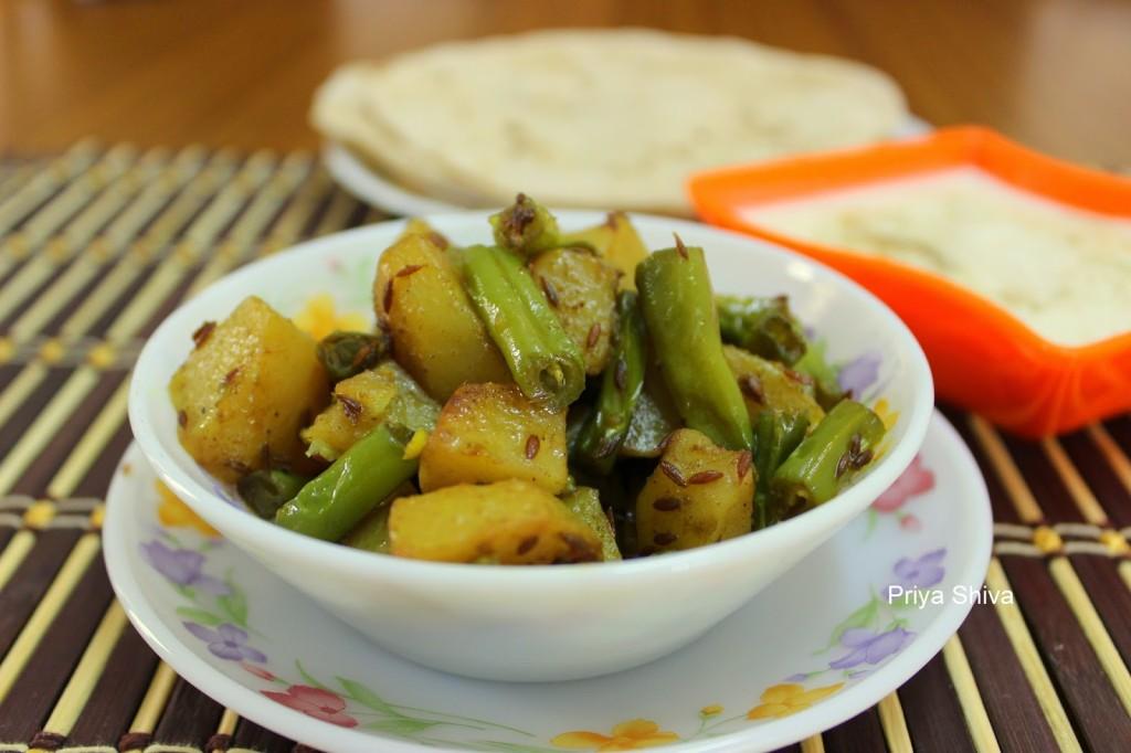 Aloo Faliyan / Potato Beans Stir Fry