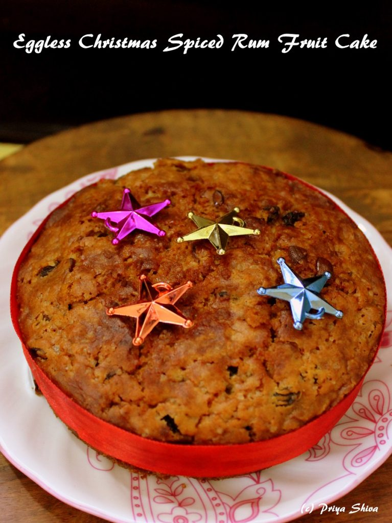 Eggless Christmas Spiced Rum Fruit Cake
