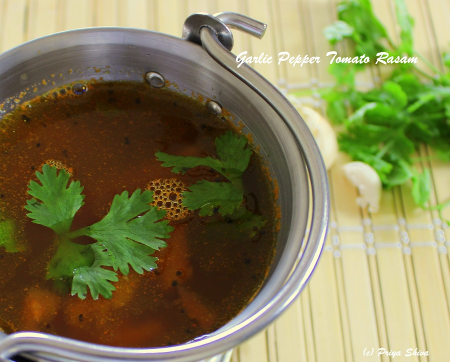 Poondu thakkali rasam – garlic pepper tomato rasam