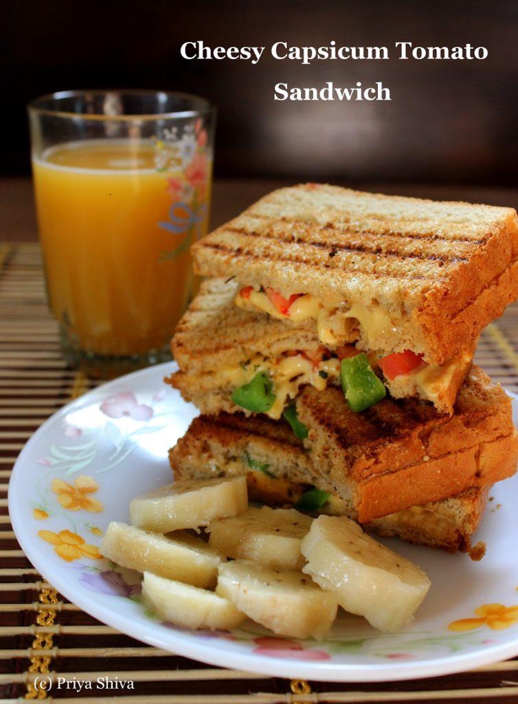 Cheesy Capsicum Tomato Sandwich