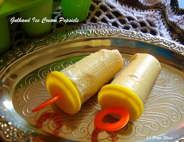 Gulkand Ice Cream Popsicle - PRIYA KITCHENETTE