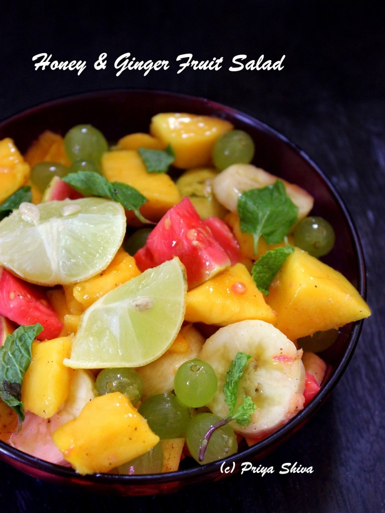 Fruit salad with a salad dressing of honey, lemon and ginger!