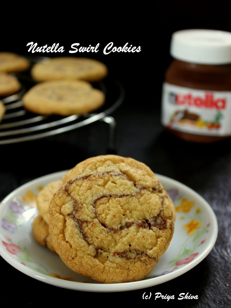 Eggless Nutella Swirl Cookies