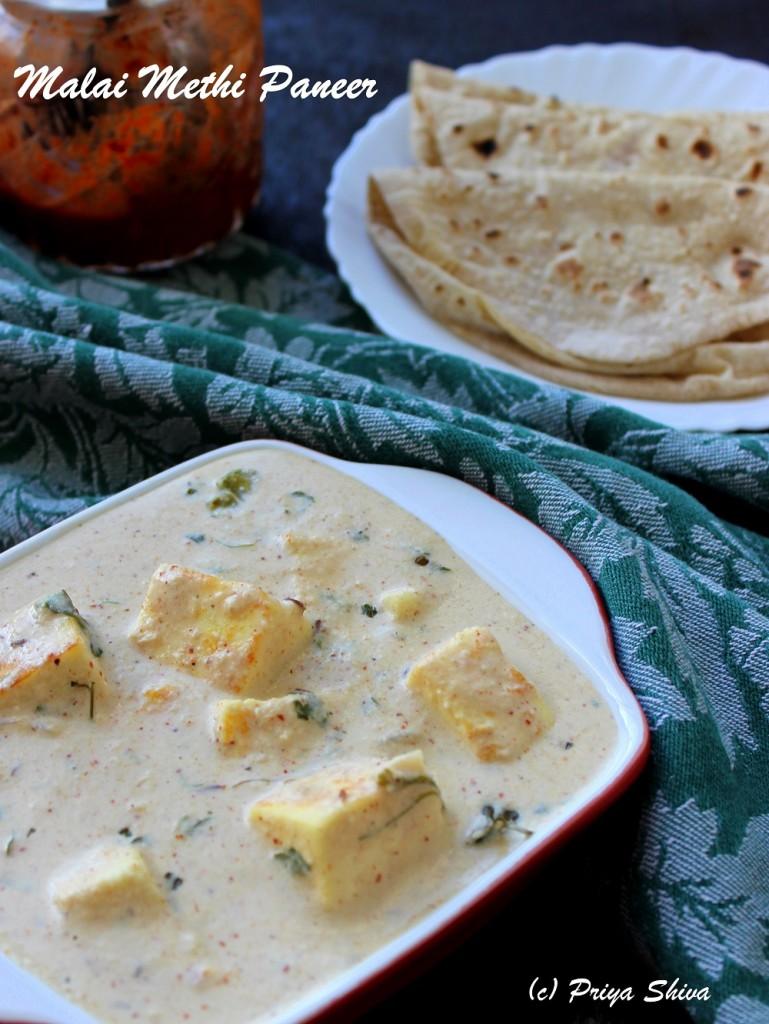 Malai Methi Paneer Curry – Guest Post