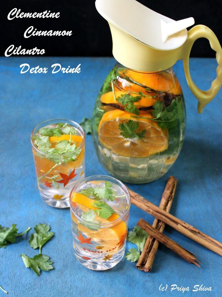 Clementine Cinnamon Cilantro Detox Drink