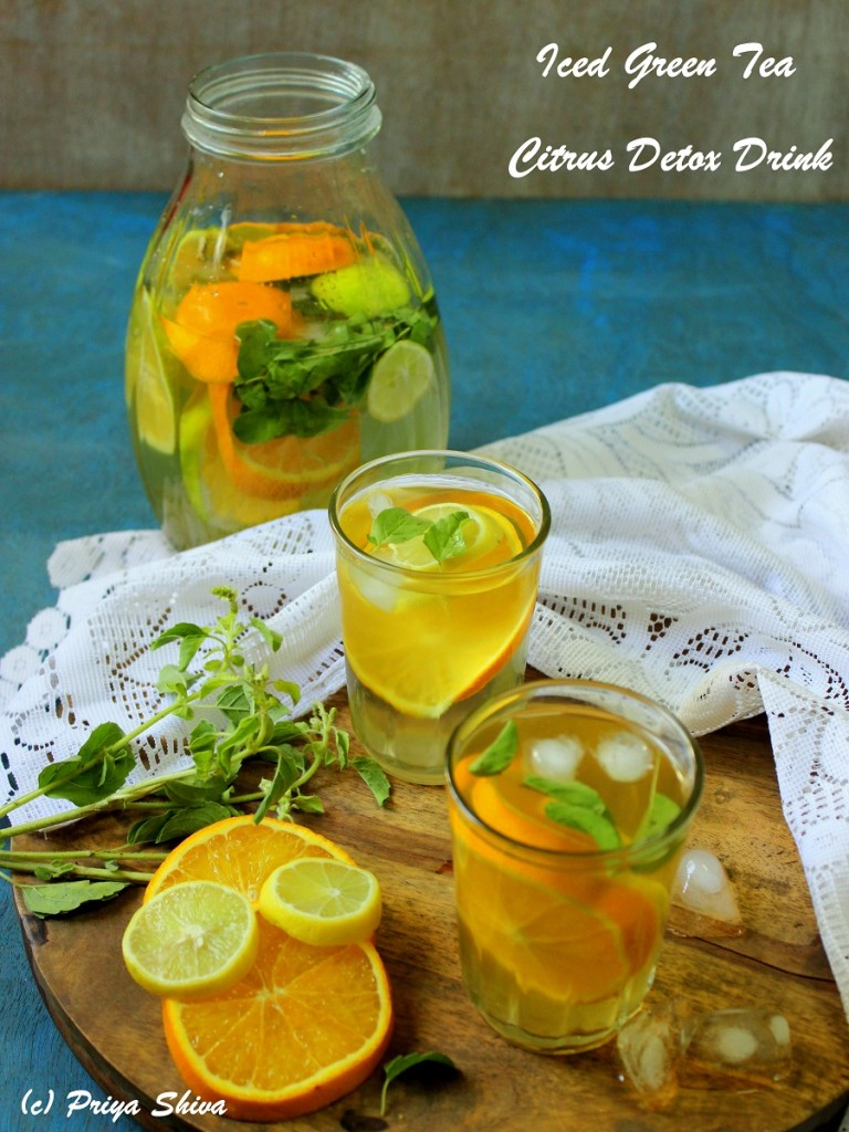 8 Delightful And Healthy SMOOTHIES, LEMONADES & BEVERAGES-Iced Green Tea – Citrus Detox drink