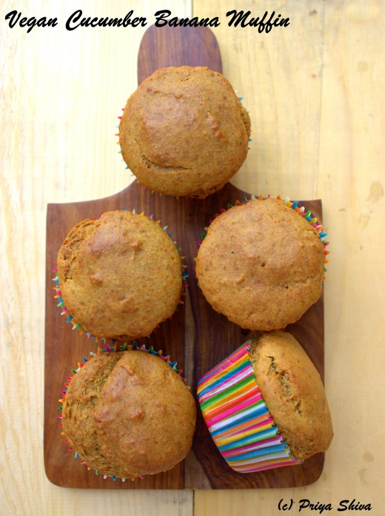 Vegan Whole Wheat Cucumber Banana Muffins