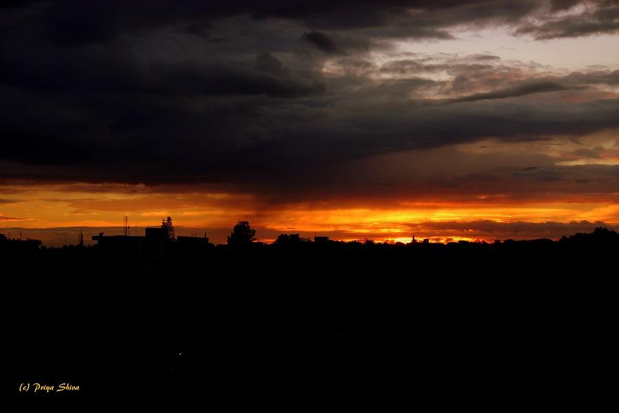 Sun set cloudy day