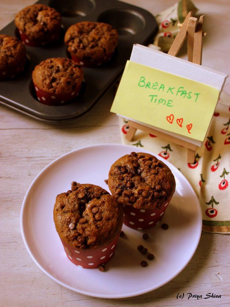 Eggless Coffee Chocolate Chip Muffin