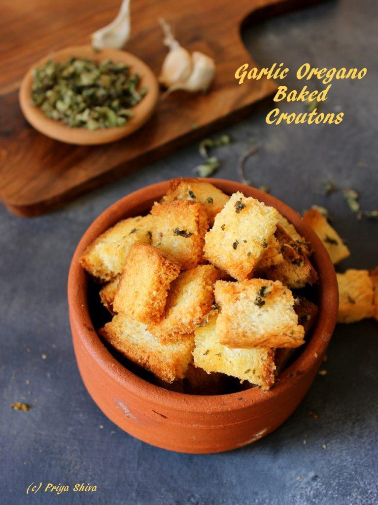 Garlic Oregano Baked Croutons