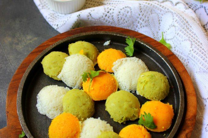 Tri-Color Mini Idlis / Vegetable Idli Recipe
