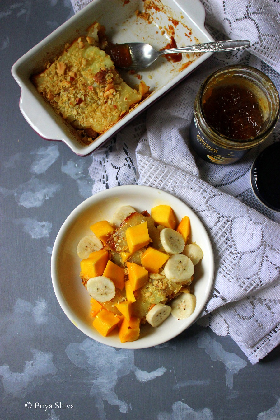 Ginger marmalade bread and butter pudding