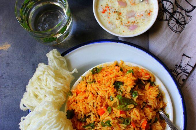 Avakai Oorugai Sadam – Pickled Vegetable Rice